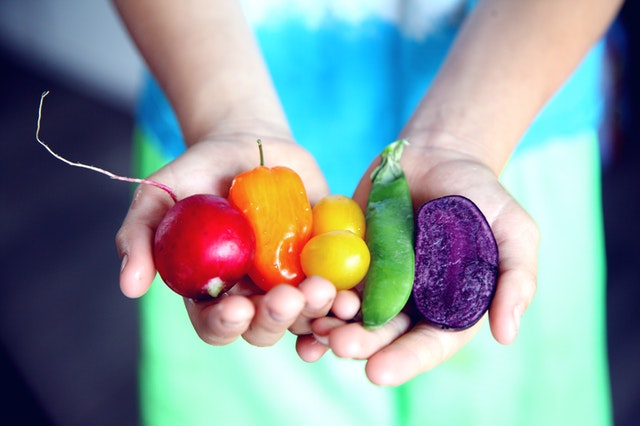 zelenina v ruce, čerstvé potraviny